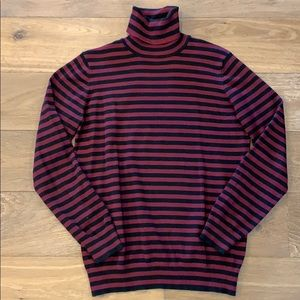 Joseph Allen Maroon and Black Striped Turtleneck M
